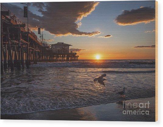 Santa Monica Sunset Wood Print