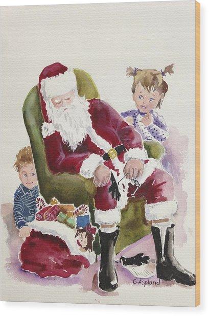 Waiting Up For Santa Wood Print
