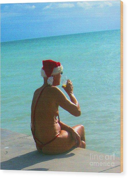 Santa On Vacation Wood Print