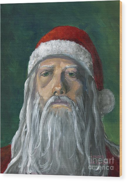 Santa Portrait Art Red And Green Wood Print