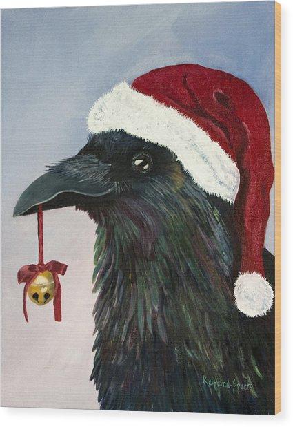 Santa Raven Wood Print by Amy Reisland-Speer