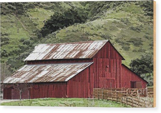 Santa Rosa Rd Barn Wood Print