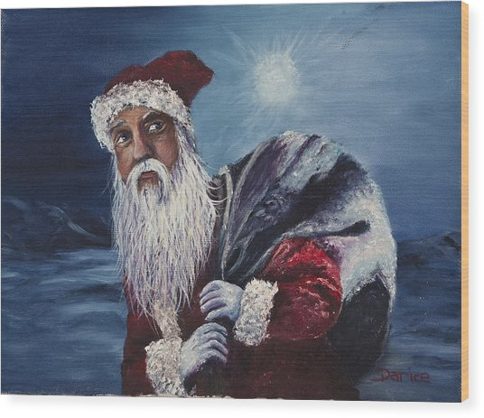 Santa With His Pack Wood Print