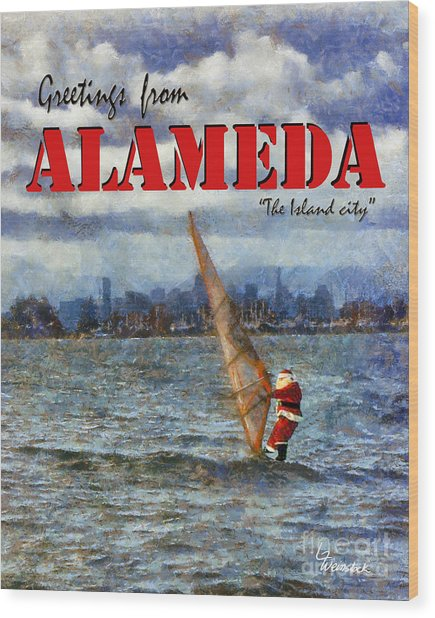 Alameda Santa's Greetings Wood Print