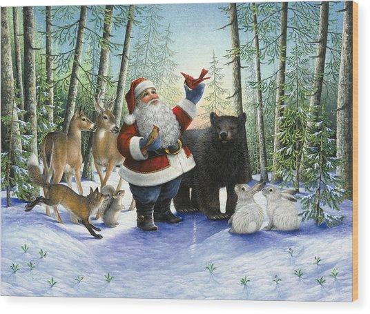 Santa's Christmas Morning Wood Print