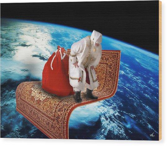 Santa's Flying Carpet Wood Print