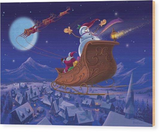 Santa's Helper Wood Print