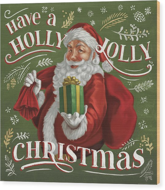 Santas List I Wood Print by Janelle Penner