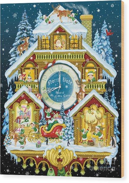 Santas Workshop Cuckoo Clock Wood Print