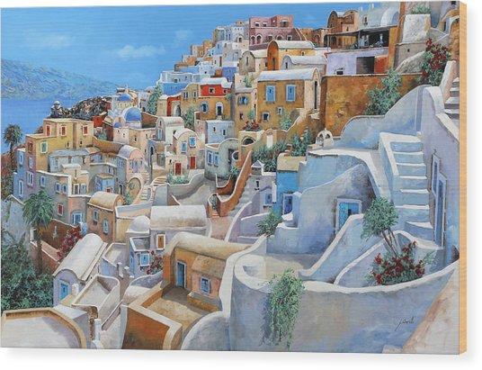 Santorini A Colori Wood Print