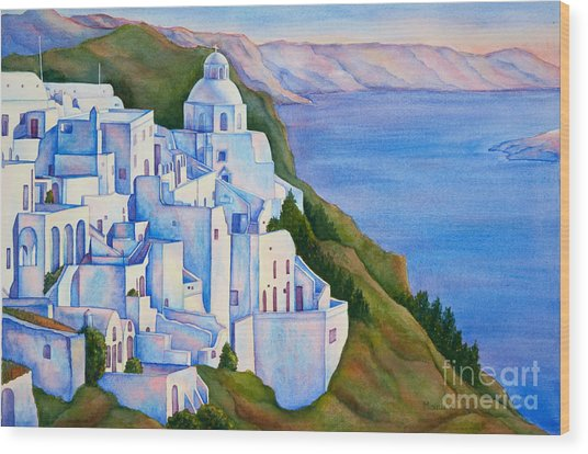 Santorini Greece Watercolor Wood Print