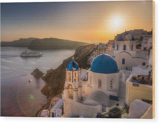 Santorini Sunset Cruise Wood Print