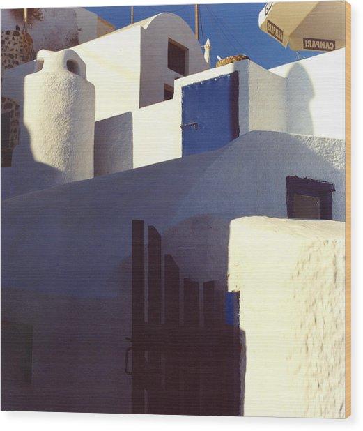 Santorini White Wood Print by Andrea Simon