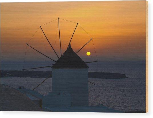 Santorini Windmill Sunset Wood Print