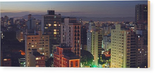 Sao Paulo Downtown At Dusk Wood Print