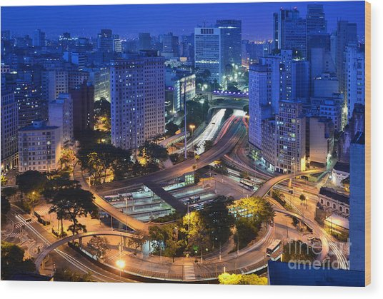 Sao Paulo Skyline - Downtown Wood Print