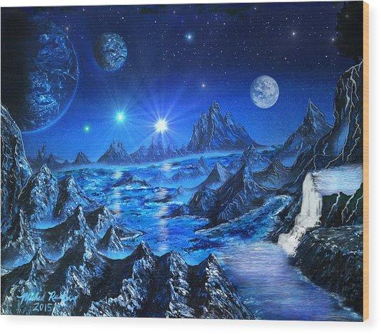 Sapphire Planet Wood Print