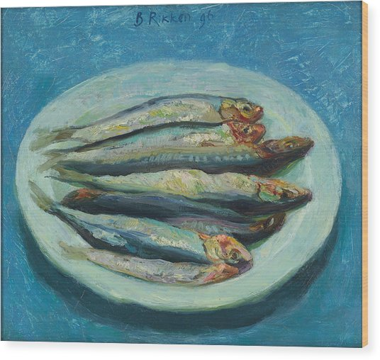 Sardines On A White Plate Wood Print by Ben Rikken