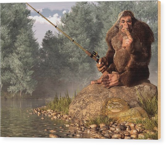 Sasquatch Goes Fishing Wood Print