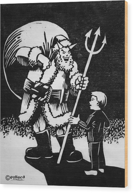 Satan Santa Wood Print