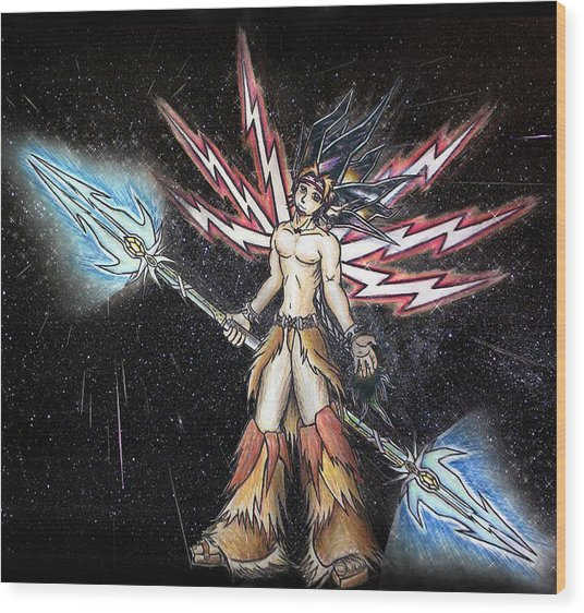 Satari God Of War And Battles Wood Print