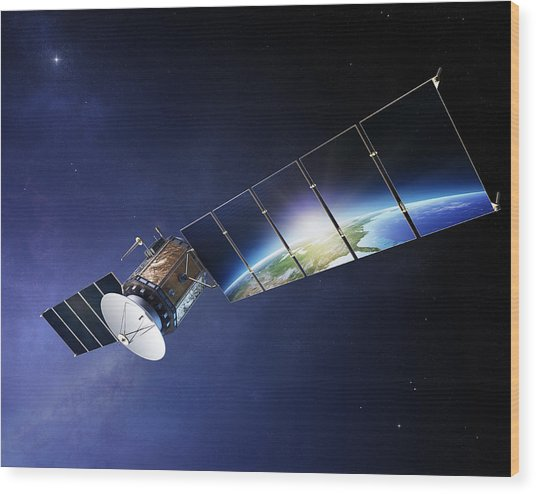 Satellite Communications With Earth Wood Print