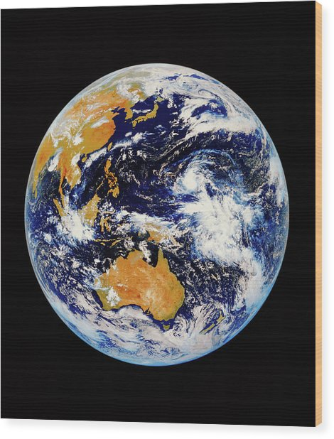 Satellite Image Of Australasia Wood Print by Kevin A Horgan/science Photo Library