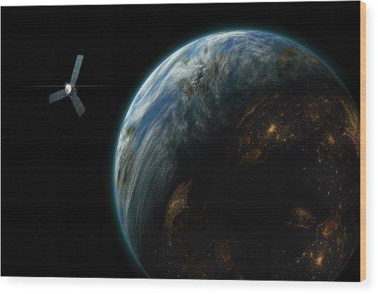 Satellite Planet  Wood Print