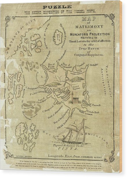 Satirical Map For Lovers Wood Print by Library Of Congress, Geography And Map Division