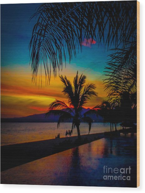 Saturated Mexican Sunset Wood Print by Charlene Gauld
