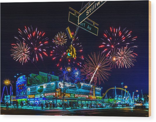 Saturday Night At Coney Island Wood Print