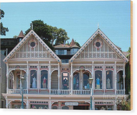 Sausalito Boutique Wood Print by Connie Fox