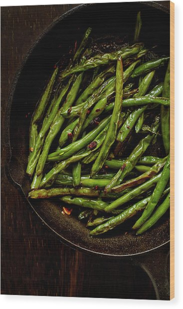 Sauteed String Beans Wood Print by Joseph Clark