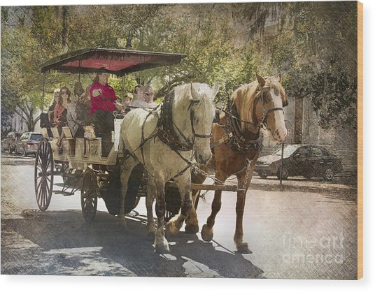 Savannah Carriage Ride Wood Print