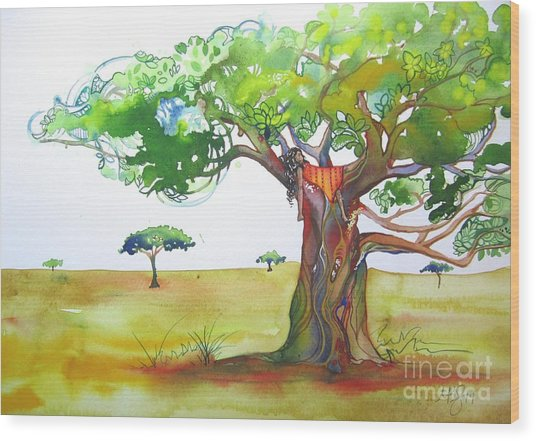 Savannah Wood Print by Maya Simonson