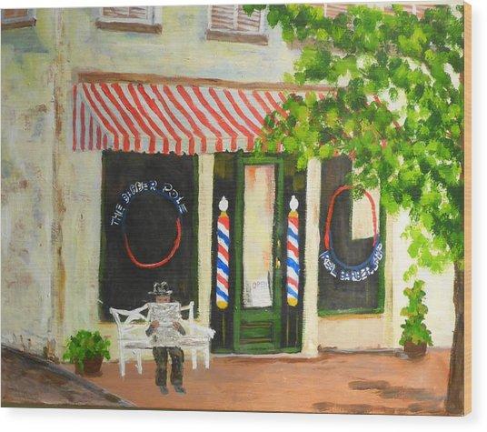 Savannah Barber Shop Wood Print