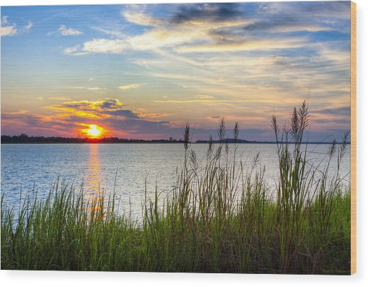 Savannah River At Sunrise - Georgia Coast Wood Print