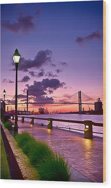 Savannah River Bridge Wood Print