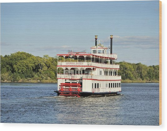 Savannah River Steamboat Wood Print
