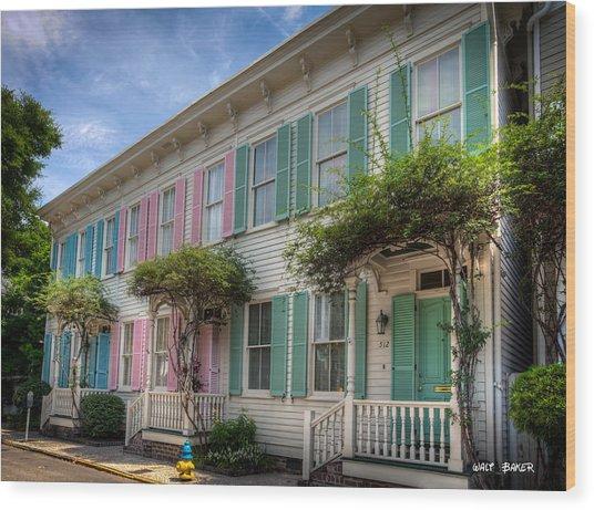 Savannah's Rainbow Row Wood Print