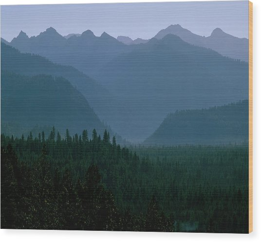 Sawtooth Mountains Silhouette Wood Print