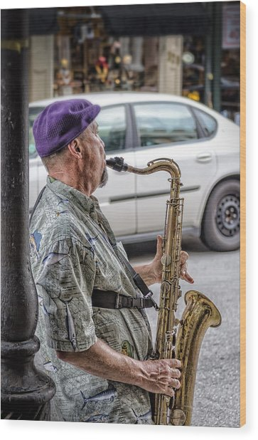 Sax In The Street Wood Print