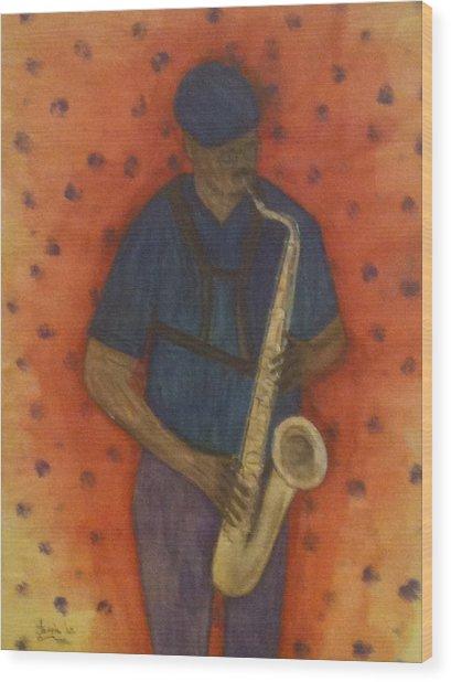 Sax Man Wood Print