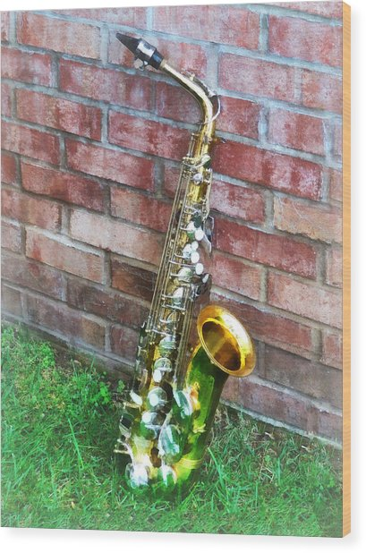 Saxophone Against Brick Wood Print