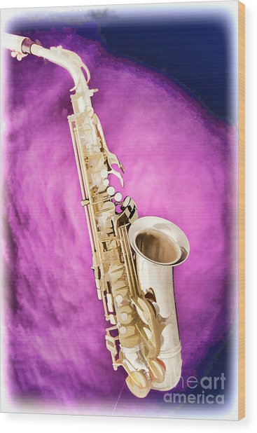 Saxophone Jazz Instrument Bell Painting In Color 3272.02 Wood Print
