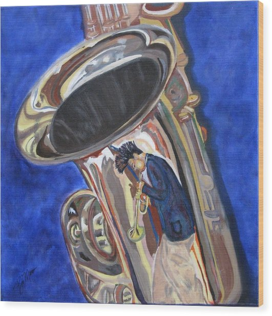 Saxy Reflection Sold Wood Print