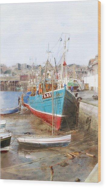 Scarborough Harbour Wood Print