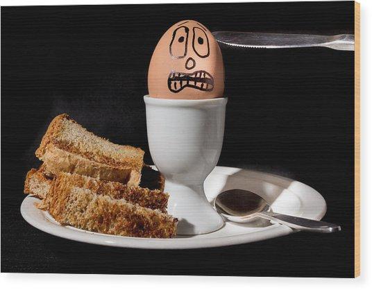 Scared Egg Wood Print