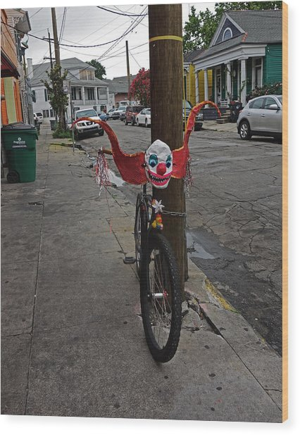 Scary Clown Bike In New Orleans Wood Print