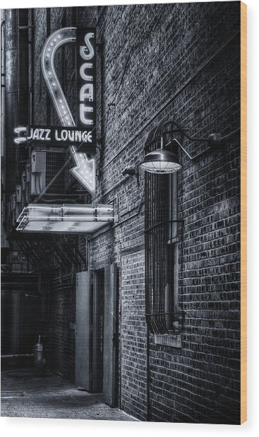 Scat Lounge In Cool Black And White Wood Print